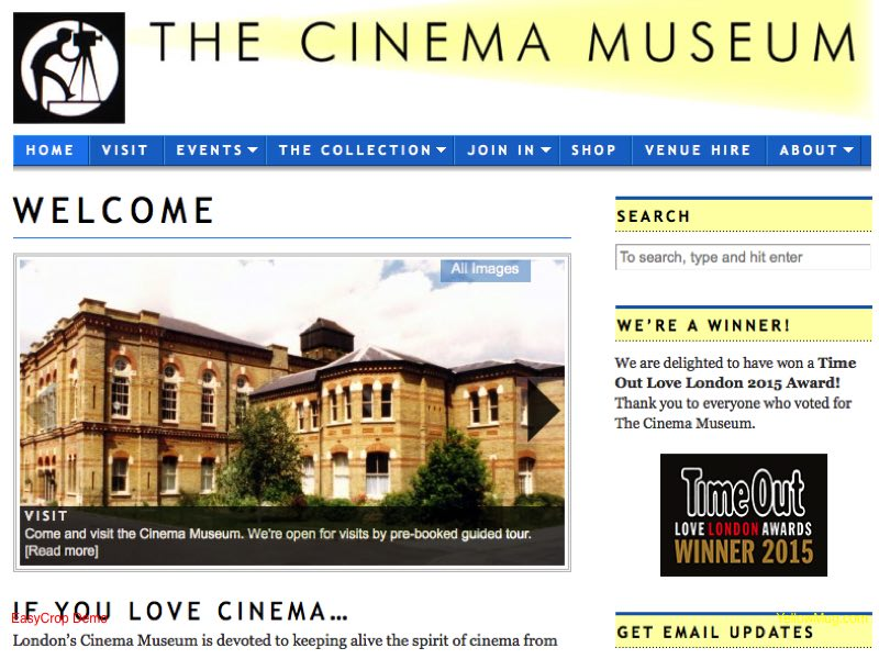 Homepage for The Cinema Museum