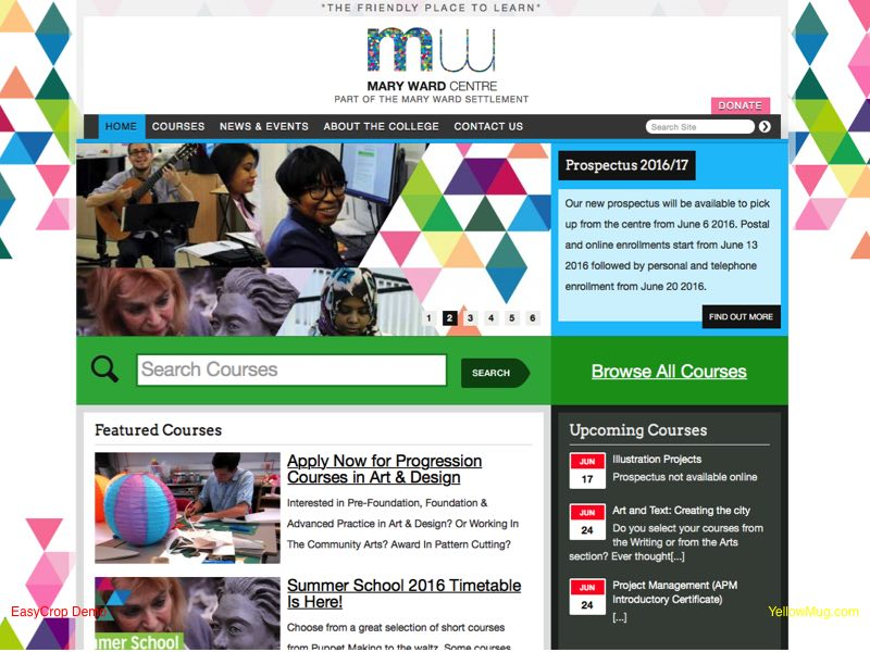 Homepage screen shot for Mary Ward Centre