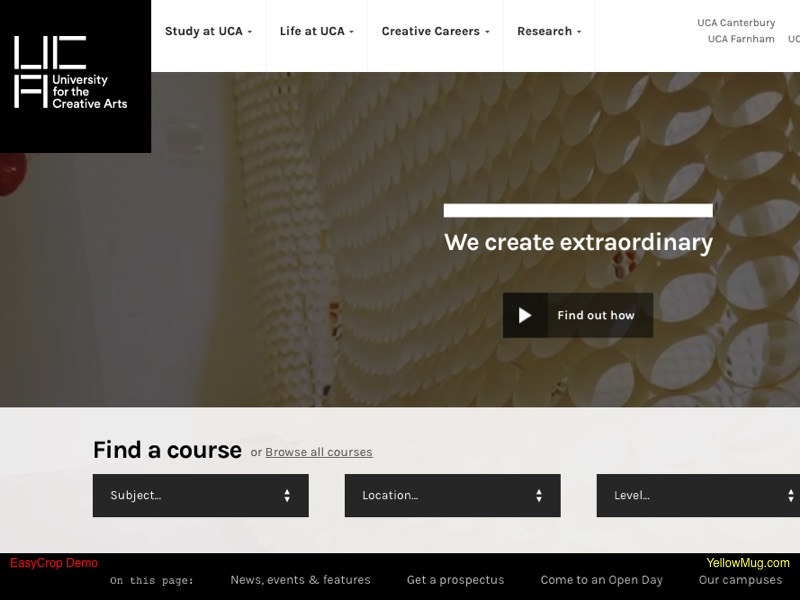 Homepage screen shot for University for the Creative Arts