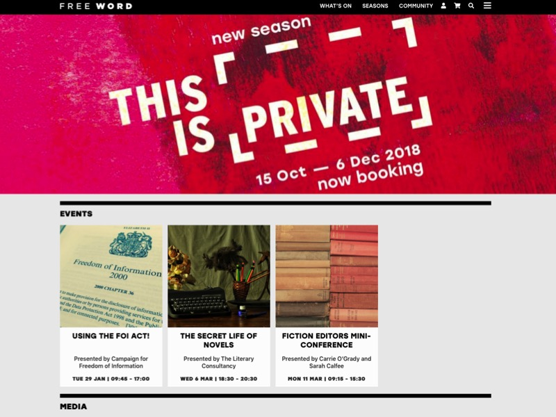 Screen shot of Free Word's new homepage 2018, featuring the This is Not Private season.