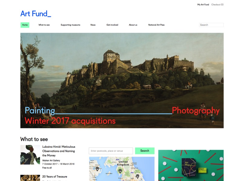 Screenshot of the Art Fund website home page