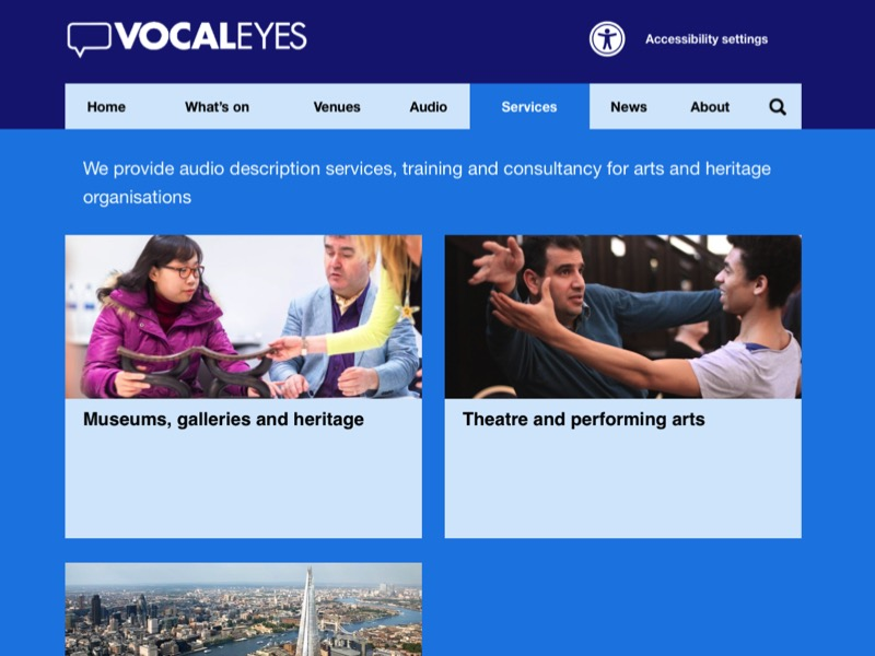 Screenshot of the Vocaleyes services web page.
