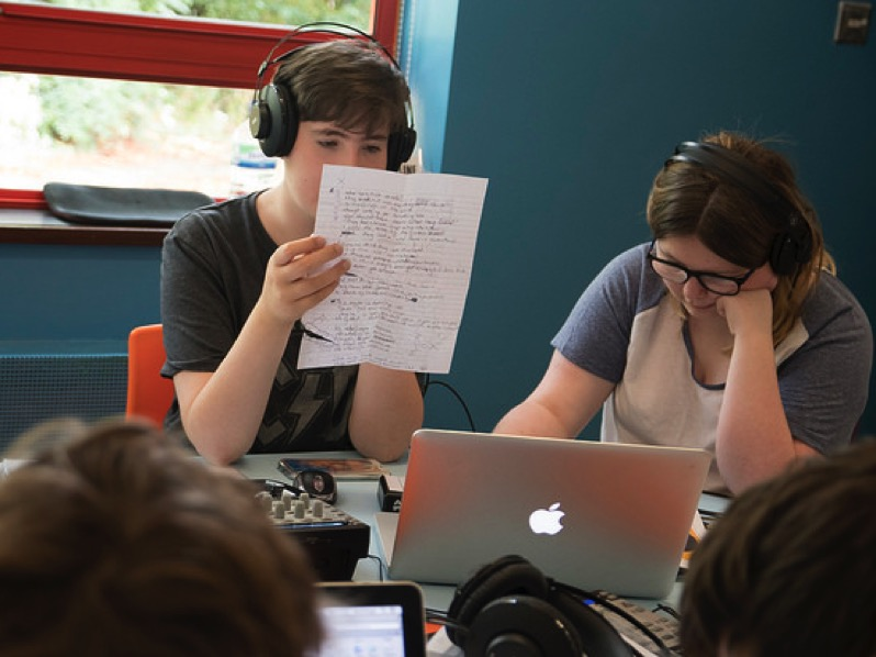 Photo of young people composing tracks as part of Pedestrian's Concept project.