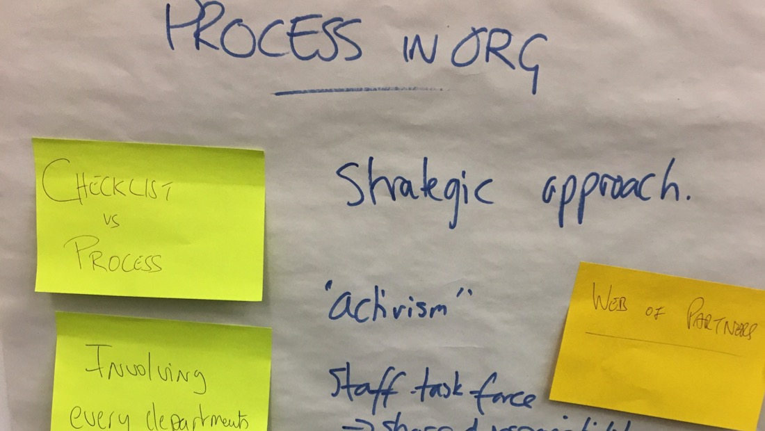 Flipchart from the British Council's Europe Beyond Access study visit - processes