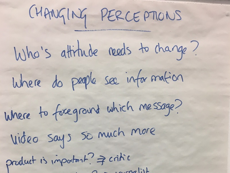 Flipchart from the British Council's Europe Beyond Access study visit - changing perceptions