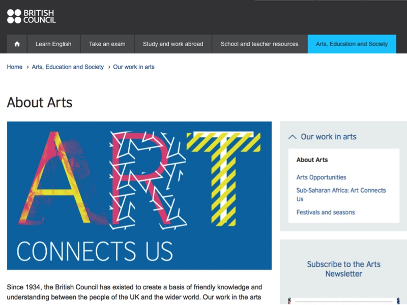 Screen shot of British Council Arts' About US page