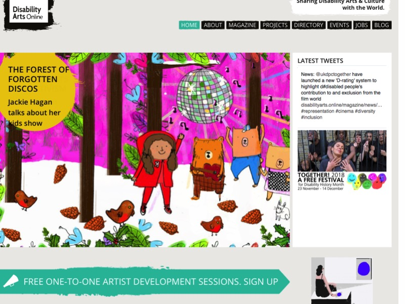 Screen shot of Disability Arts Online homepage