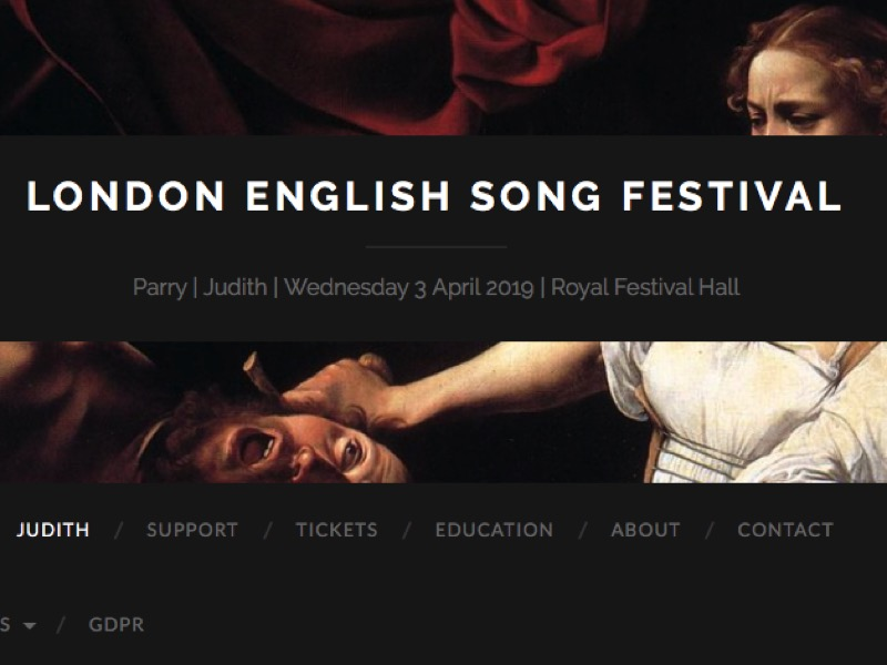 Screenshot of London English Song Festival's homepage, with a painting of Judith and Holofernes