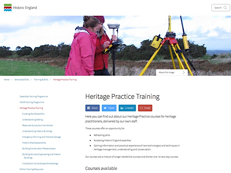 Historic England's website screen shot of Heritage Practice