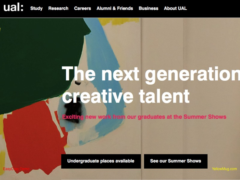 University of the Arts London homepage