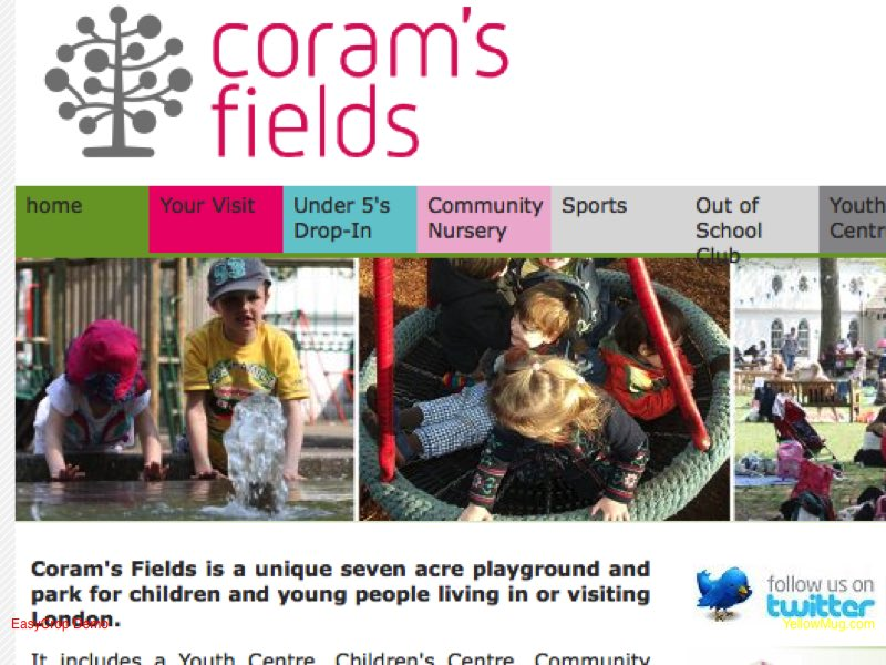 Homepage screenshot for Corams Fields