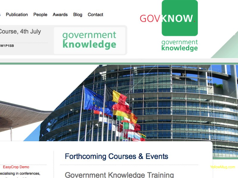 Homepage screenshot for Government Knowledge