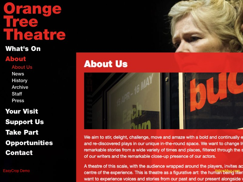 Orange Tree Theatre website screenshot