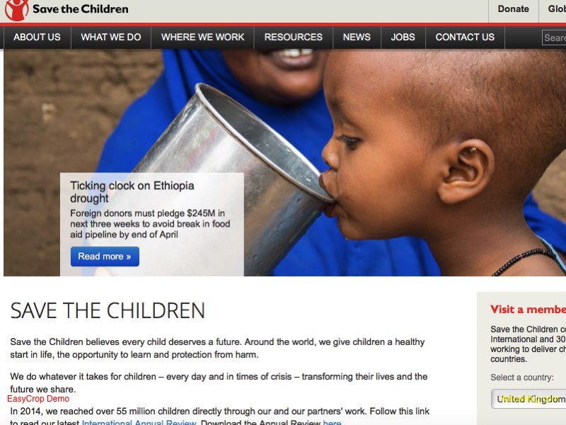 Save the Children International Homepage Screenshot