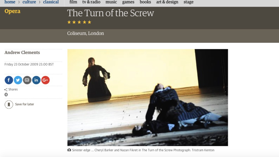 Turn of the Screw review in the Guardian - screengrab