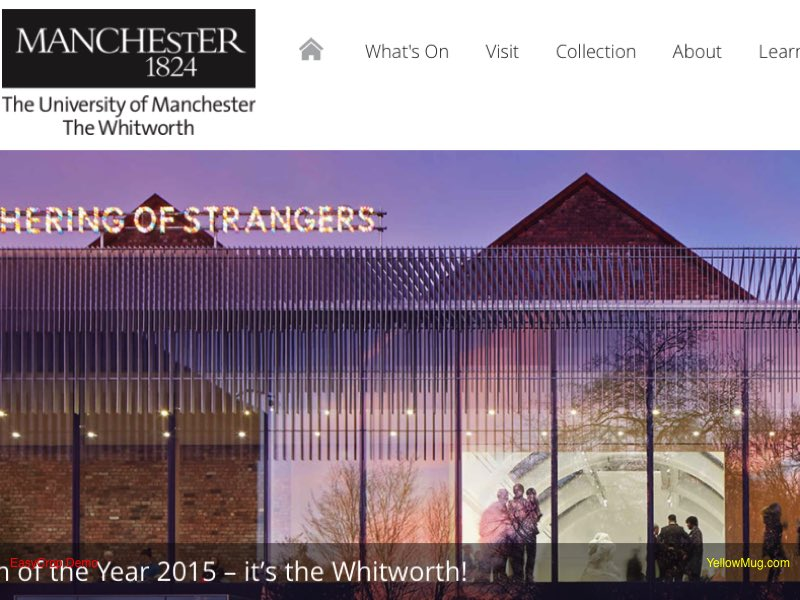 Whitworth Art Gallery homepage screenshot