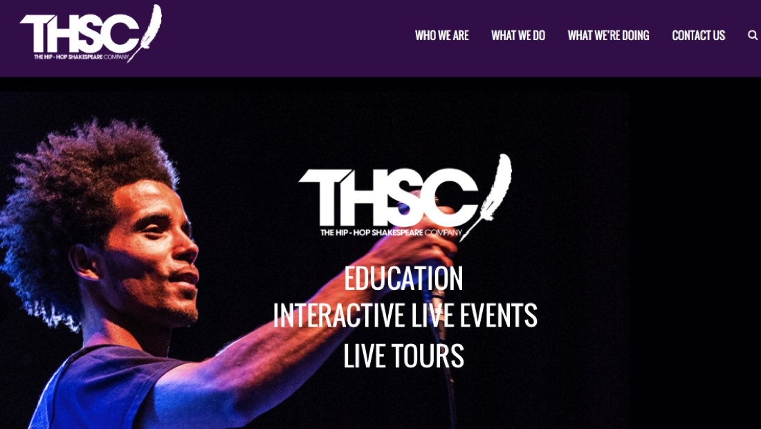 The Hiphop Shakespeare Company homepage screenshot