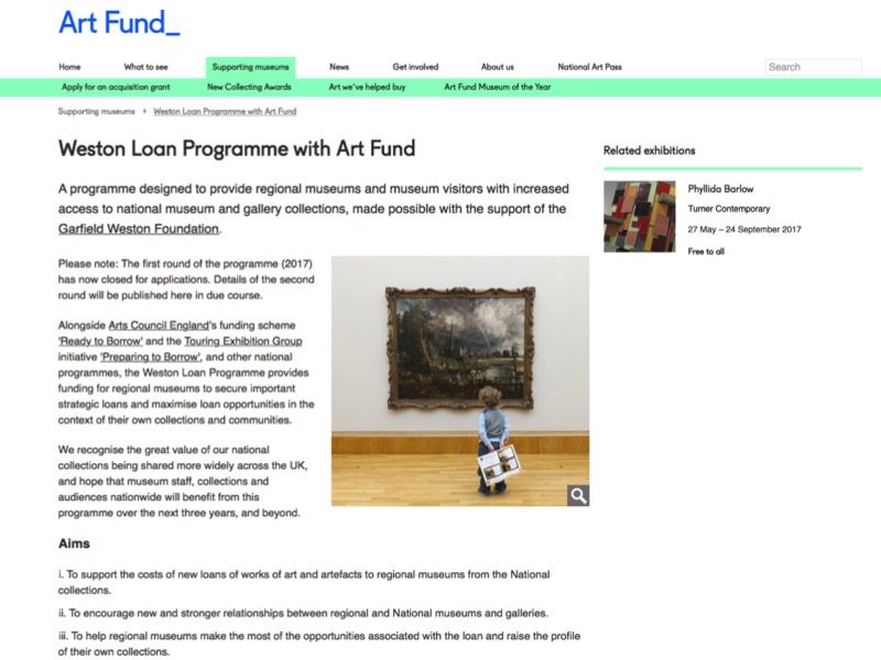Screenshot of the Weston Loan Programme web page on the Art Fund website.
