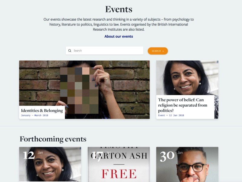 Screenshot of the British Academy's website events directory page.