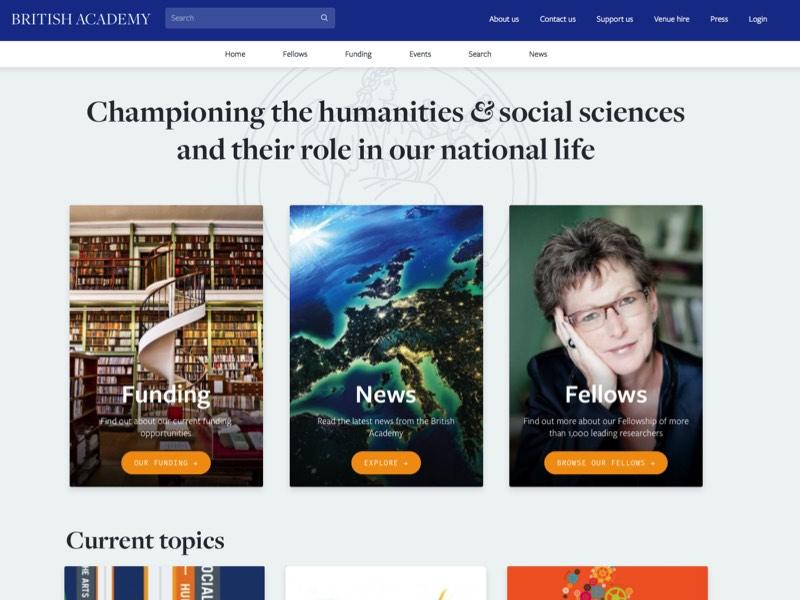 Screenshot of the British Academy's website homepage.