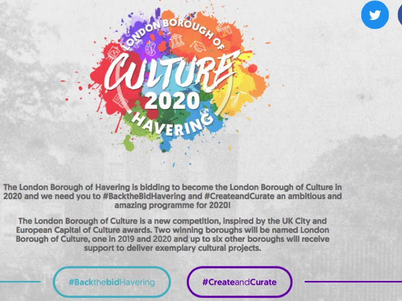Screenshot of Havering London Borough of Culture bid website
