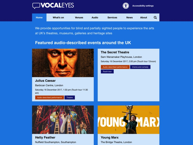 Screenshot of the Vocaleyes website homepage.