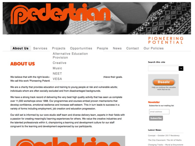 Screenshot of Pedestrian's homepage