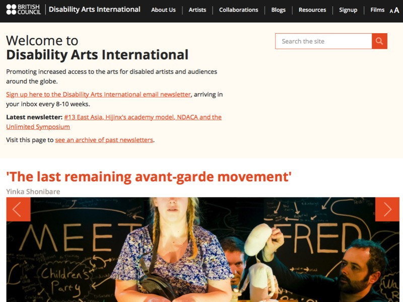 Screen shot of Disability Arts International homepage
